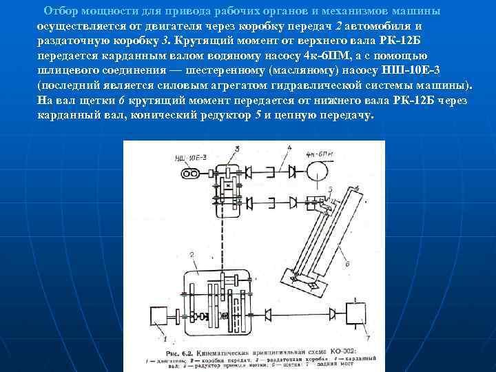 Отбор мощности для привода рабочих органов и механизмов машины осуществляется от двигателя через