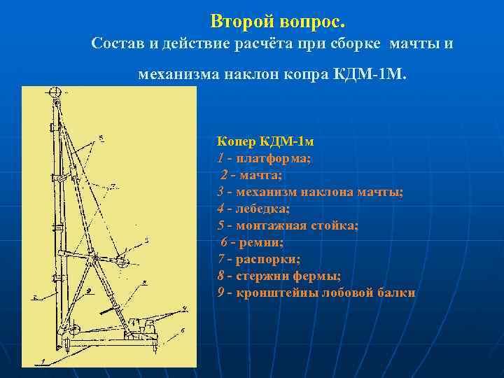 Второй вопрос. Состав и действие расчёта при сборке мачты и механизма наклон копра КДМ-1