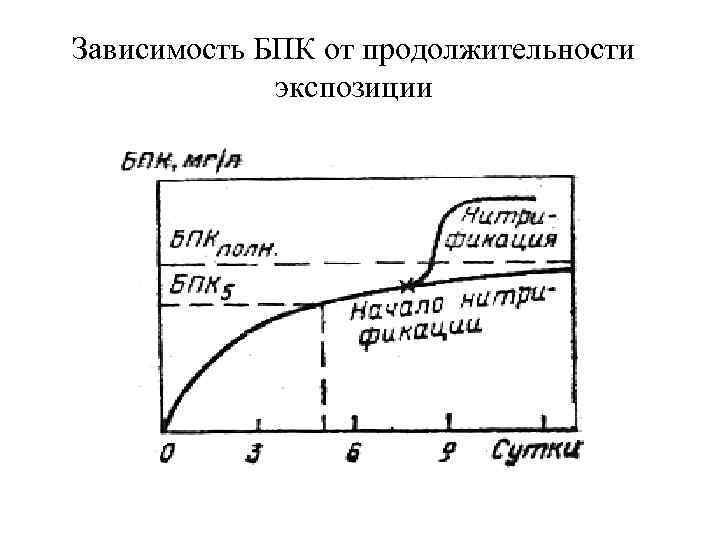 Зависимость БПК от продолжительности экспозиции
