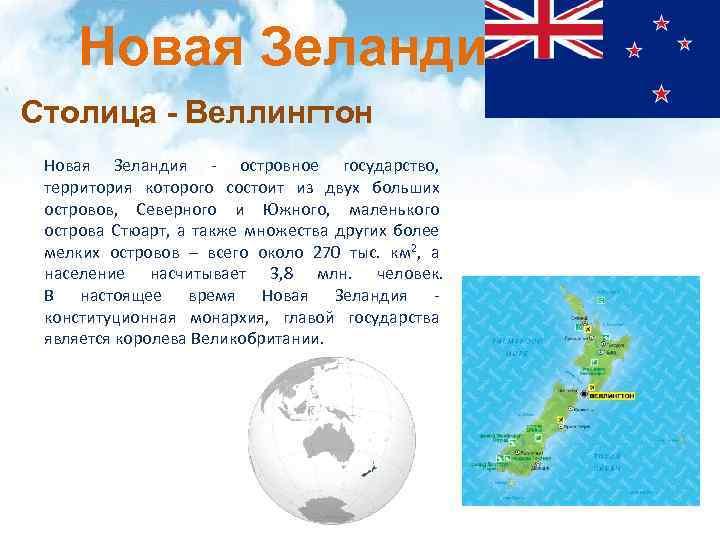 Новая Зеландия Столица - Веллингтон Новая Зеландия - островное государство, территория которого состоит из