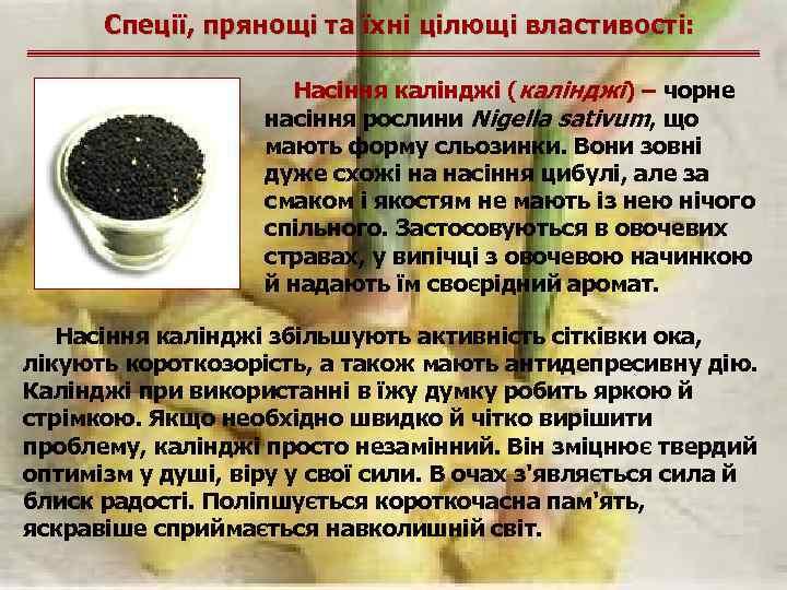 Спеції, прянощі та їхні цілющі властивості: Насіння калінджі (калінджі) – чорне насіння рослини Nigella