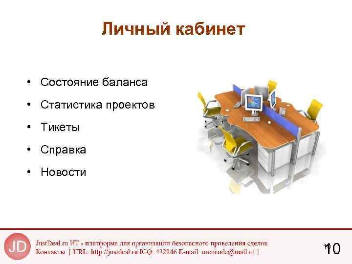 Личный кабинет • Состояние баланса • Статистика проектов • Тикеты • Справка • Новости