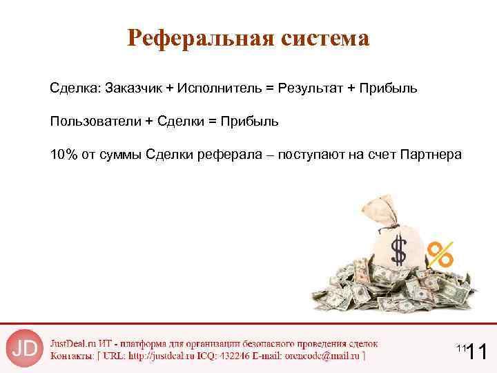 Реферальная система Сделка: Заказчик + Исполнитель = Результат + Прибыль Пользователи + Сделки =