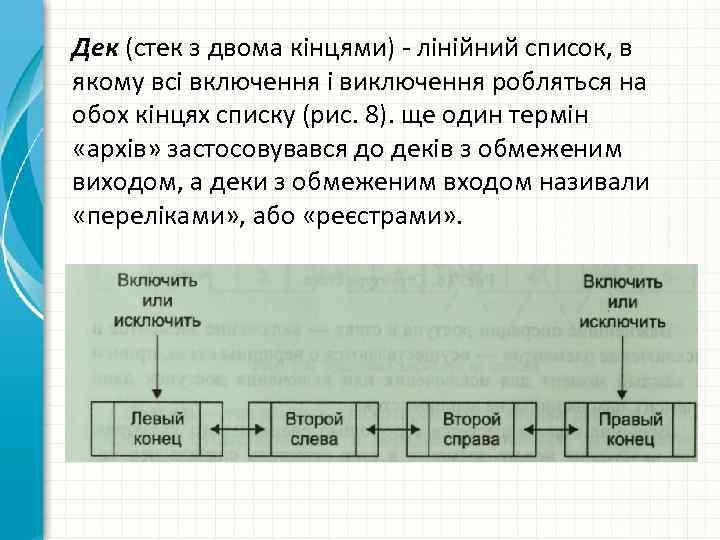 Дек (стек з двома кінцями) - лінійний список, в якому всі включення і виключення