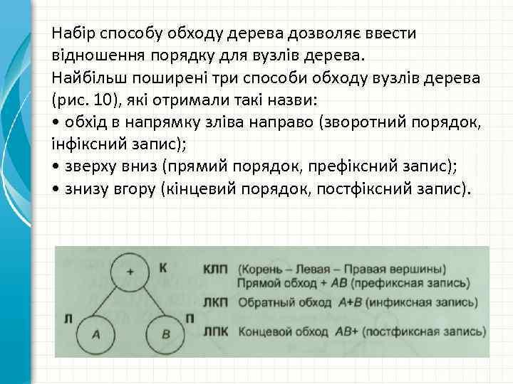 Набір способу обходу дерева дозволяє ввести відношення порядку для вузлів дерева. Найбільш поширені три