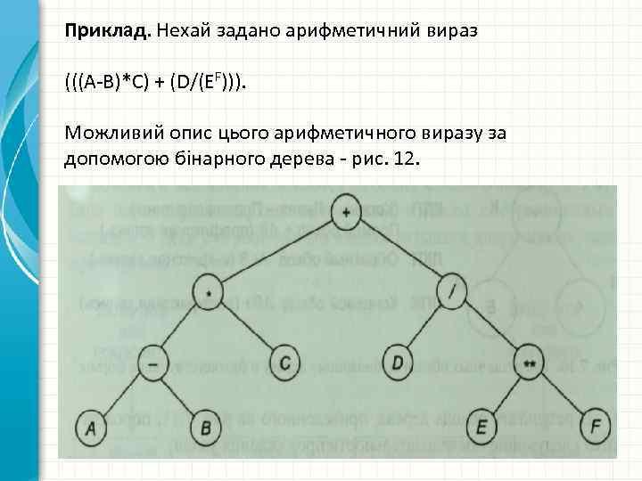 Приклад. Нехай задано арифметичний вираз (((А-В)*С) + (D/(EF))). Можливий опис цього арифметичного виразу за