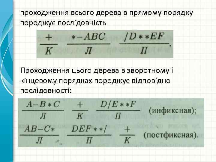 проходження всього дерева в прямому порядку породжує послідовність Проходження цього дерева в зворотному і