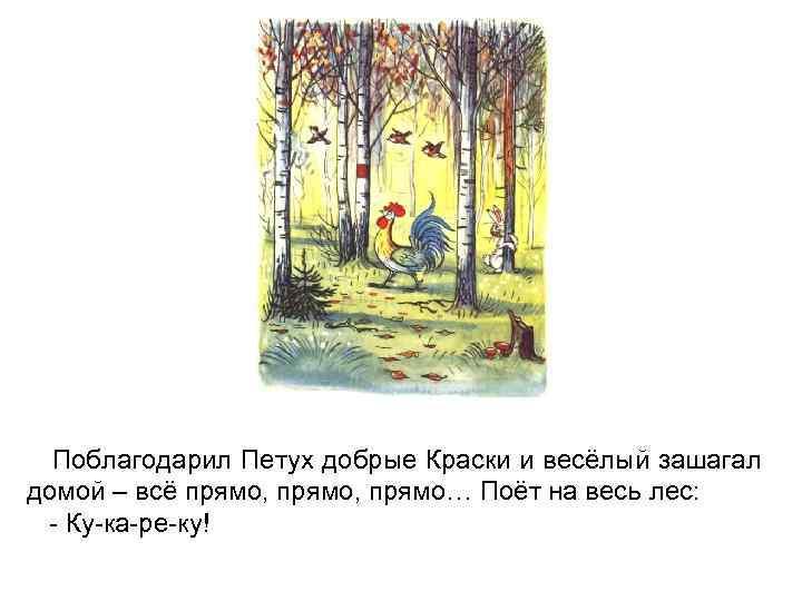 Поблагодарил Петух добрые Краски и весёлый зашагал домой – всё прямо, прямо… Поёт на