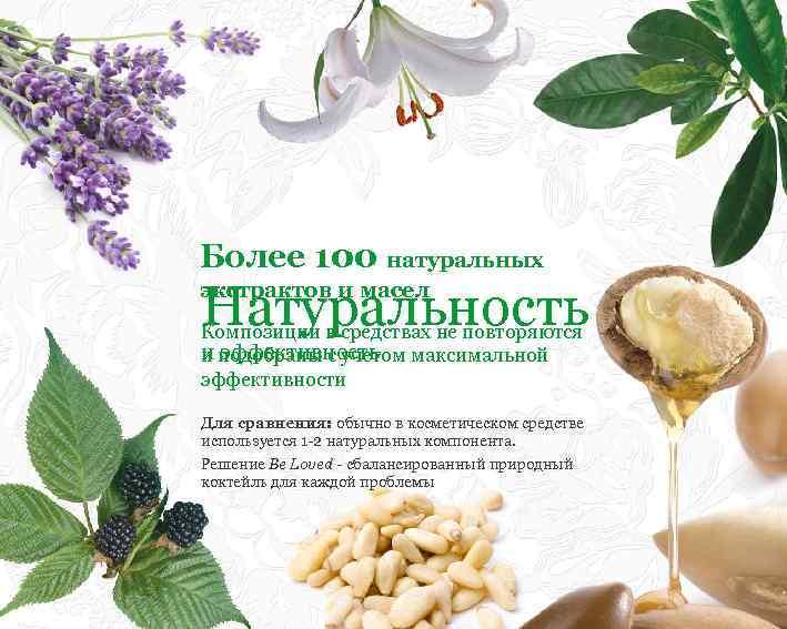Более 100 натуральных Натуральность экстрактов и масел Композиции в средствах не повторяются и подобраны