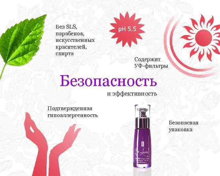 Без SLS, парабенов, искусственных красителей, спирта Содержит УФ-фильтры Безопасность и эффективность Подтвержденная гипоаллергенность Безопасная