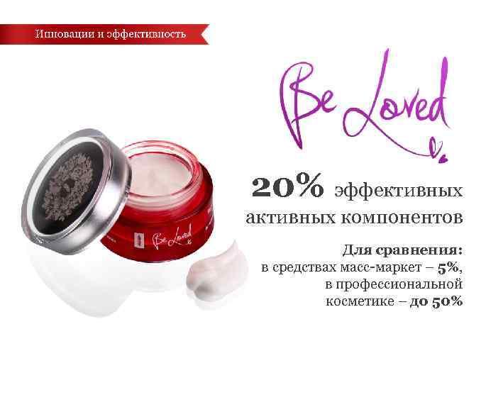 20% эффективных активных компонентов Для сравнения: в средствах масс-маркет – 5%, в профессиональной косметике