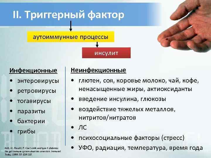 II. Триггерный фактор аутоиммунные процессы инсулит Инфекционные • энтеровирусы • ретровирусы • тогавирусы •
