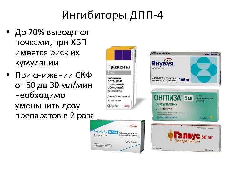 Ингибиторы ДПП-4 • До 70% выводятся почками, при ХБП имеется риск их кумуляции •