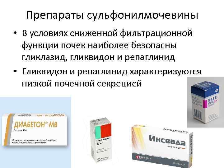 Препараты сульфонилмочевины • В условиях сниженной фильтрационной функции почек наиболее безопасны гликлазид, гликвидон и
