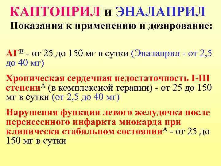 КАПТОПРИЛ и ЭНАЛАПРИЛ Показания к применению и дозирование: АГВ - от 25 до 150