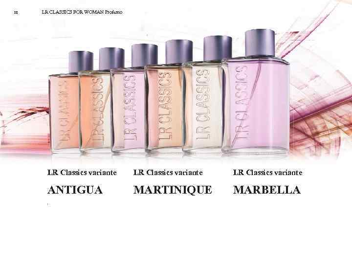 18 LR CLASSICS FOR WOMAN Profumo LR Classics variante ANTIGUA MARTINIQUE MARBELLA .