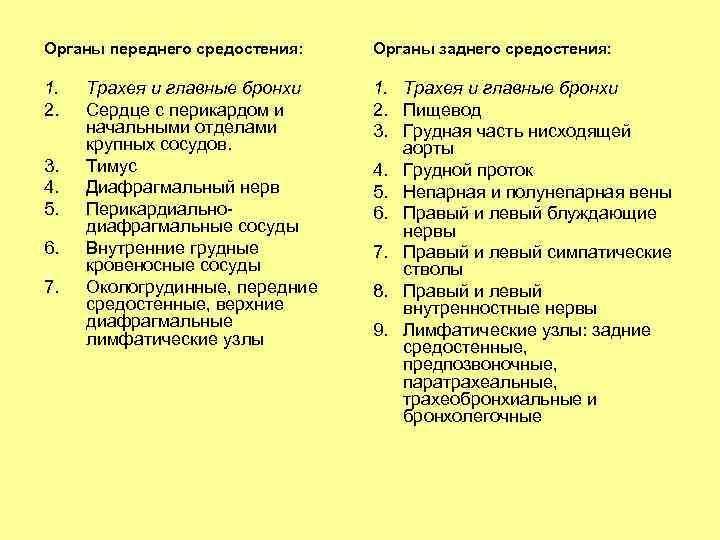 Органы переднего средостения: Органы заднего средостения: 1. 2. 1. Трахея и главные бронхи 2.