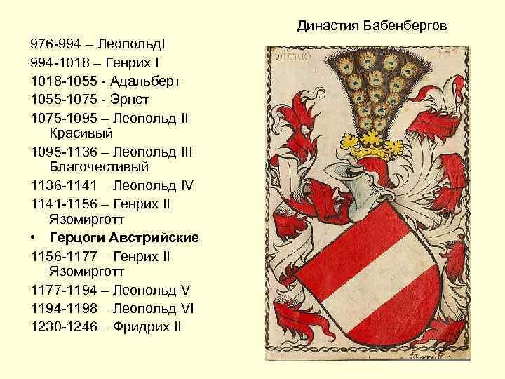Династия Бабенбергов 976 -994 – Леопольд. I 994 -1018 – Генрих I 1018 -1055