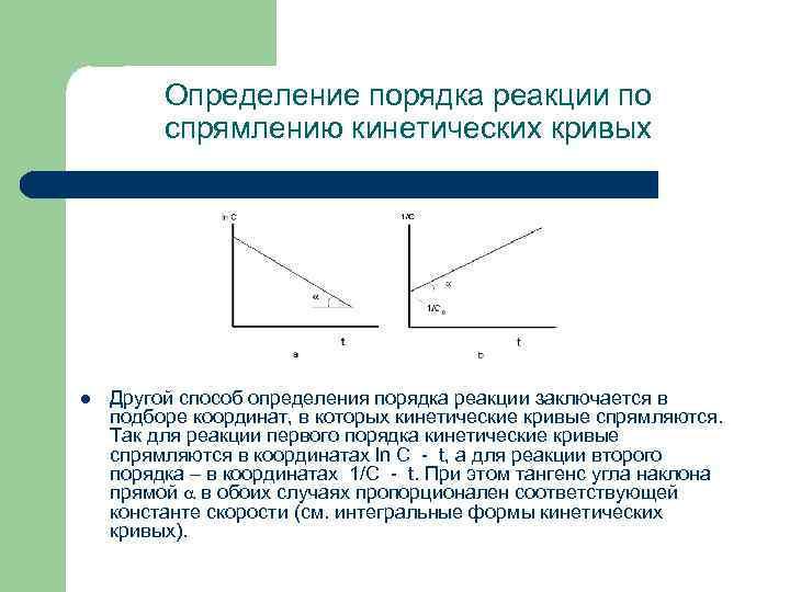 Определение порядка реакции по спрямлению кинетических кривых l Другой способ определения порядка реакции заключается