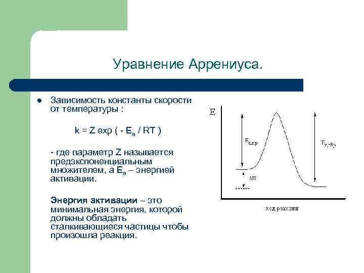 Уравнение Аррениуса. l Зависимость константы скорости от температуры : k = Z exp (