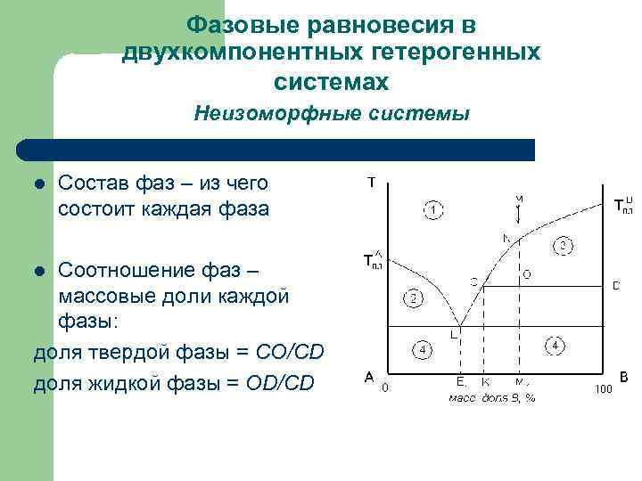 Фазовые равновесия в двухкомпонентных гетерогенных системах Неизоморфные системы l Состав фаз – из чего