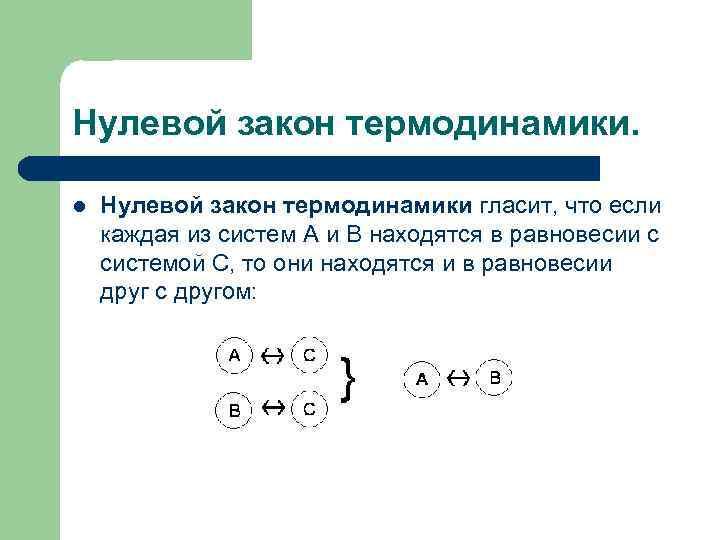 Нулевой закон термодинамики. l Нулевой закон термодинамики гласит, что если каждая из систем А