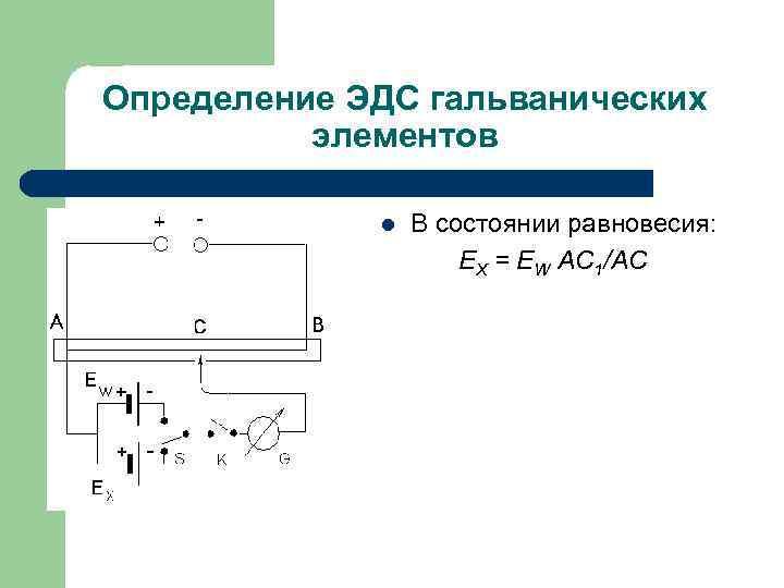 Определение ЭДС гальванических элементов l В состоянии равновесия: ЕX = ЕW АС 1/АС