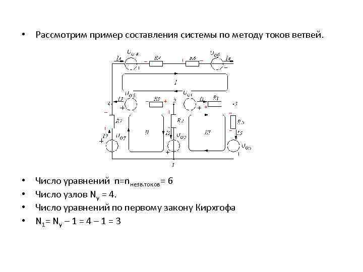 • Рассмотрим пример составления системы по методу токов ветвей. • • Число уравнений