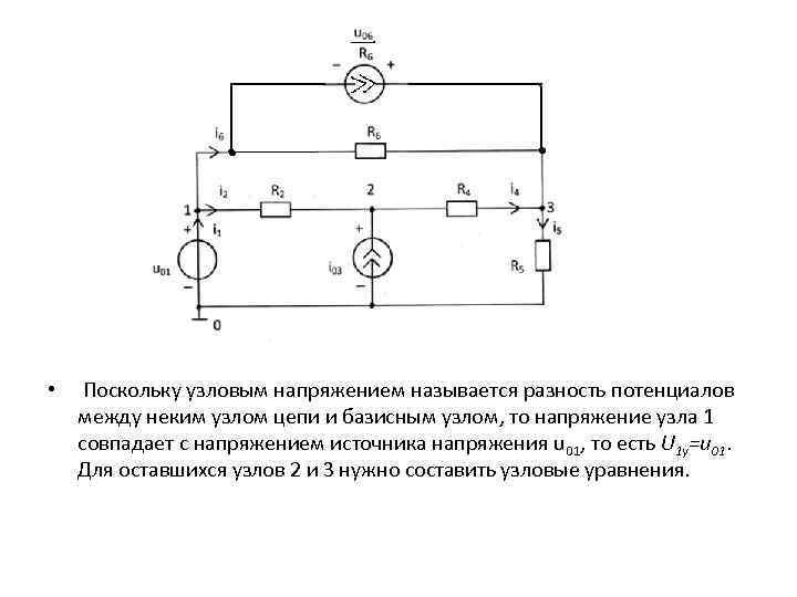 • Поскольку узловым напряжением называется разность потенциалов между неким узлом цепи и базисным