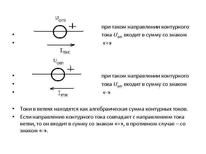 при таком направлении контурного • тока Uоm входит в сумму со знаком •