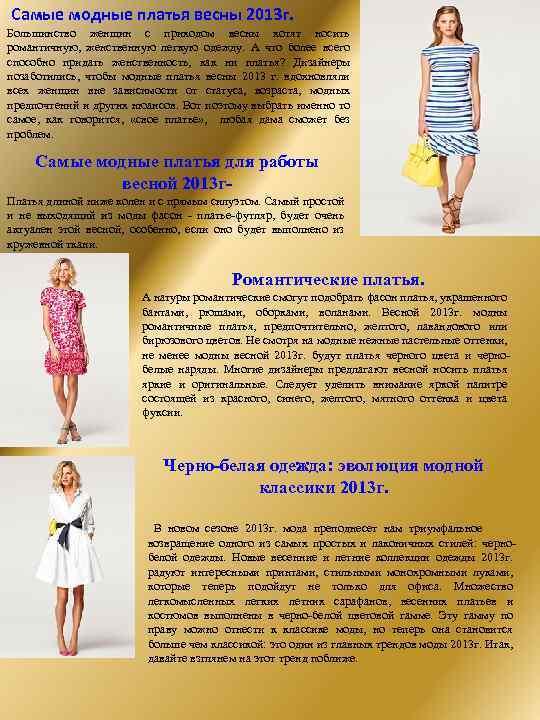 Самые модные платья весны 2013 г. Большинство женщин с приходом весны хотят носить