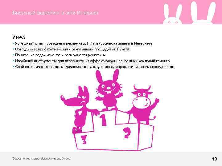 Вирусный маркетинг в сети Интернет У НАС: • Успешный опыт проведения рекламных, PR и