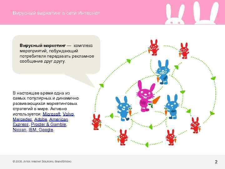 Вирусный маркетинг в сети Интернет Вирусный маркетинг — комплекс мероприятий, побуждающий потребителя передавать рекламное