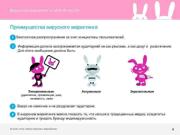 Вирусный маркетинг в сети Интернет Преимущества вирусного маркетинга 1 Бесплатное распространение за счет инициативы