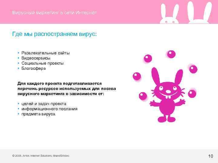 Вирусный маркетинг в сети Интернет Где мы распостраняем вирус: • Развлекательные сайты • Видеосервисы