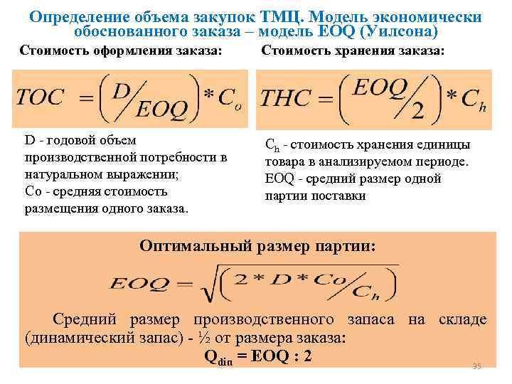 Определение объема закупок ТМЦ. Модель экономически обоснованного заказа – модель EOQ (Уилсона) Стоимость оформления