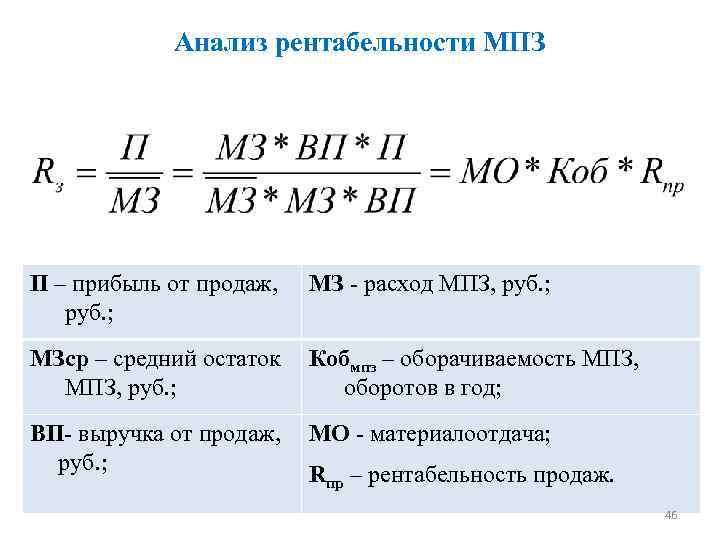 Анализ рентабельности МПЗ П – прибыль от продаж, руб. ; МЗ - расход МПЗ,