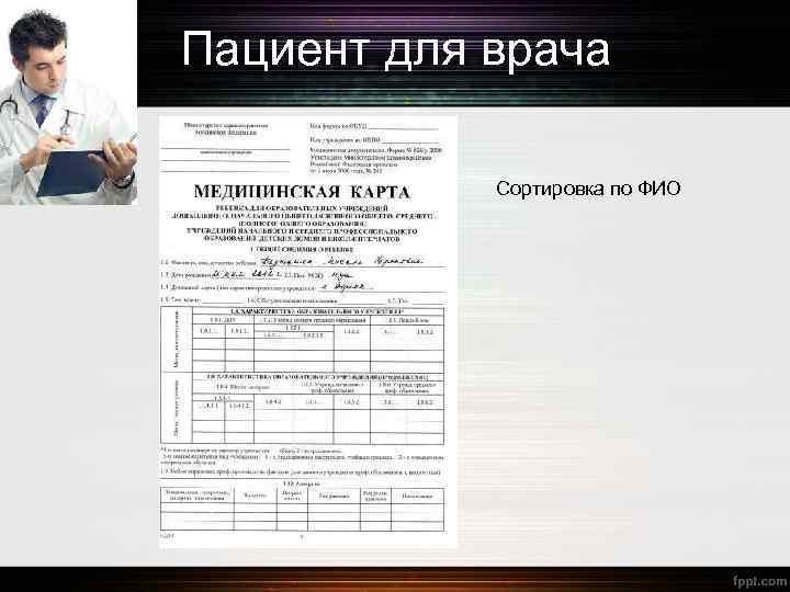 Пациент для врача Сортировка по ФИО