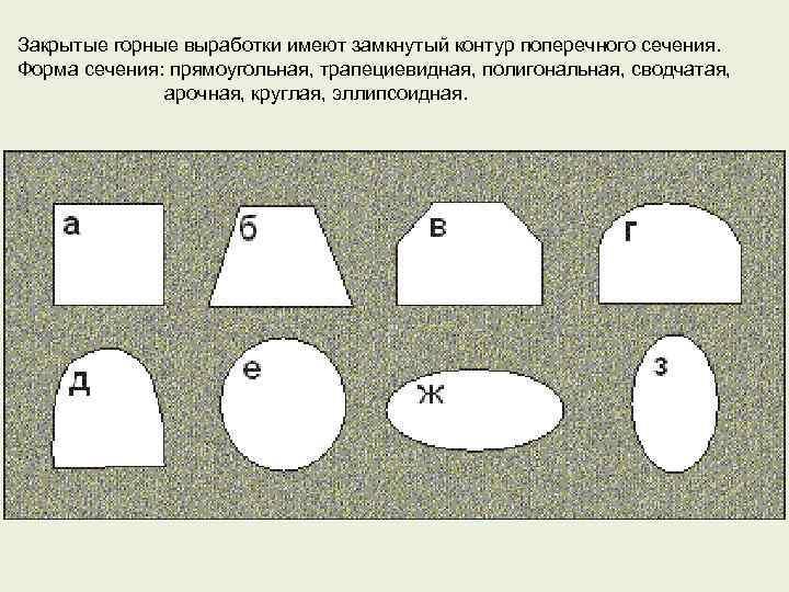 Закрытые горные выработки имеют замкнутый контур поперечного сечения. Форма сечения: прямоугольная, трапециевидная, полигональная, сводчатая,