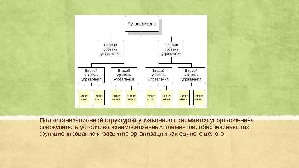 Под организационной структурой управления понимается упорядоченная совокупность устойчиво взаимосвязанных элементов, обеспечивающих функционирование и развитие