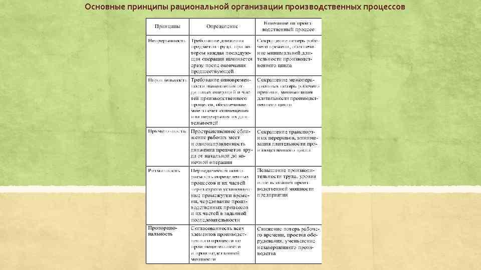Основные принципы рациональной организации производственных процессов