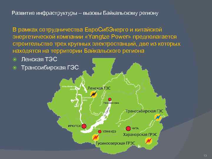Развитие инфраструктуры – вызовы Байкальскому региону В рамках сотрудничества Евро. Сиб. Энерго и китайской