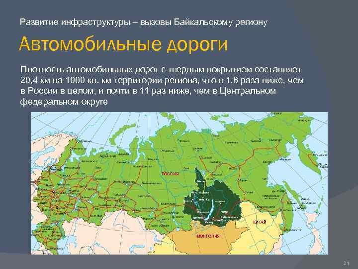 Развитие инфраструктуры – вызовы Байкальскому региону Автомобильные дороги Плотность автомобильных дорог с твердым покрытием
