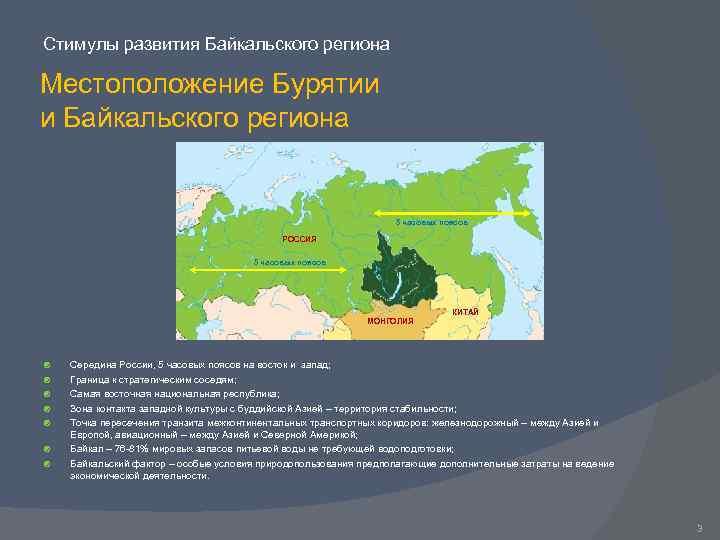 Стимулы развития Байкальского региона Местоположение Бурятии и Байкальского региона 5 часовых поясов РОССИЯ 5