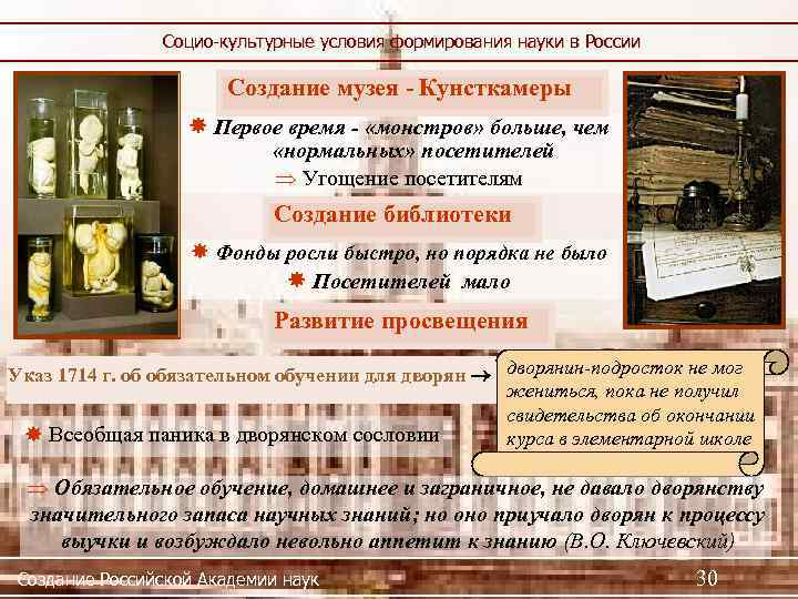 Социо-культурные условия формирования науки в России Создание музея - Кунсткамеры Первое время - «монстров»