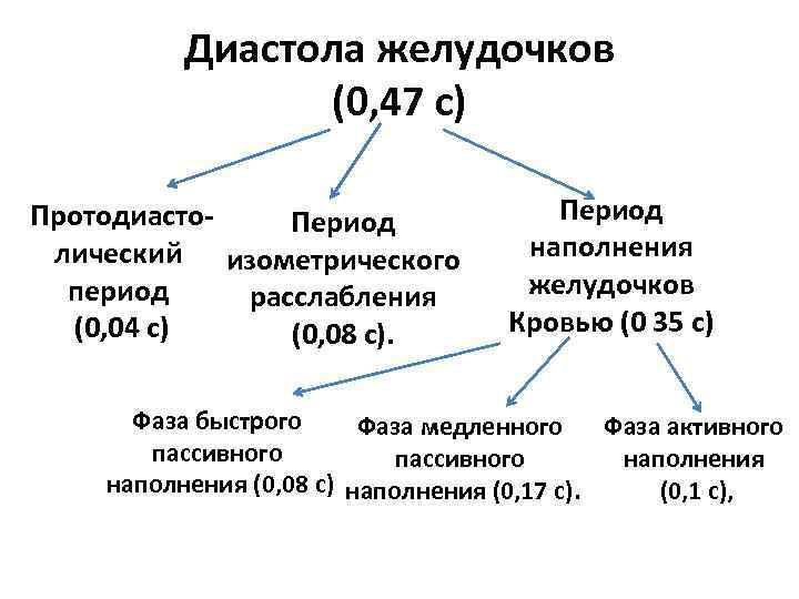 Диастола желудочков (0, 47 с) Протодиасто. Период лический изометрического период расслабления (0, 04 с)