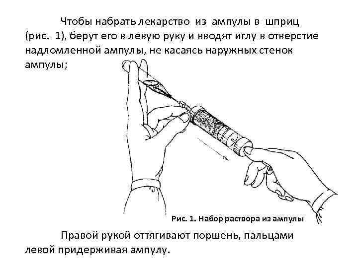 Чтобы набрать лекарство из ампулы в шприц (рис. 1), берут его в левую руку