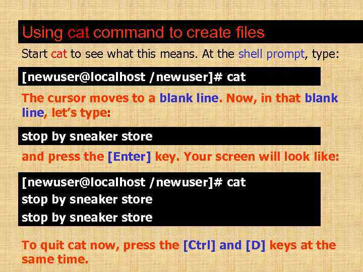 Using cat command to create files Start cat to see what this means. At