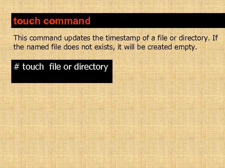 touch command This command updates the timestamp of a file or directory. If the