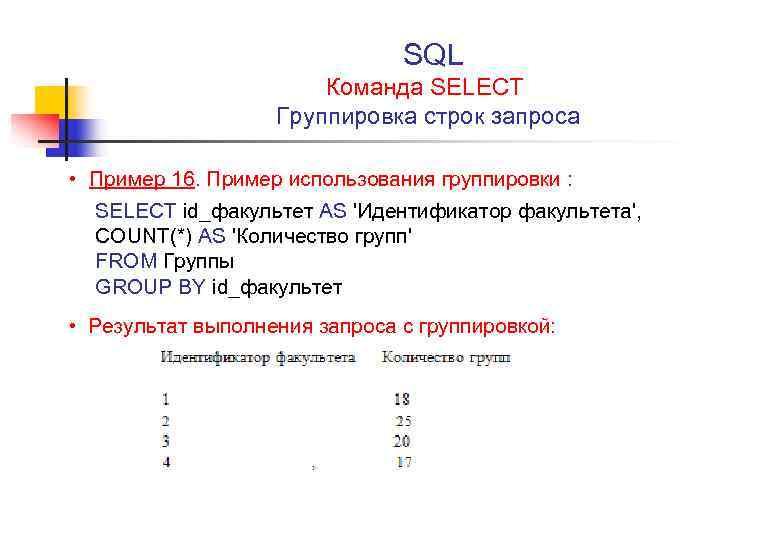 SQL Команда SELECT Группировка строк запроса • Пример 16. Пример использования группировки : SELECT